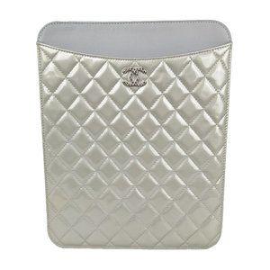 Chanel Patent Leather Silver Quilted Tablet Case